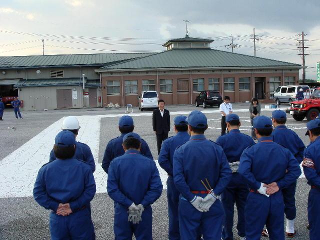 彦根市消防第2分団ポンプ操法訓練激励