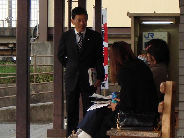 駅立ち(JR坂田駅)