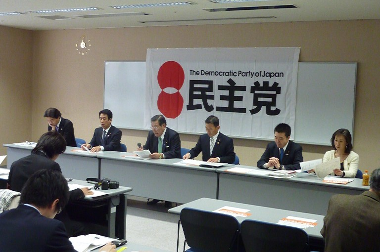 県連定期大会後の記者会見